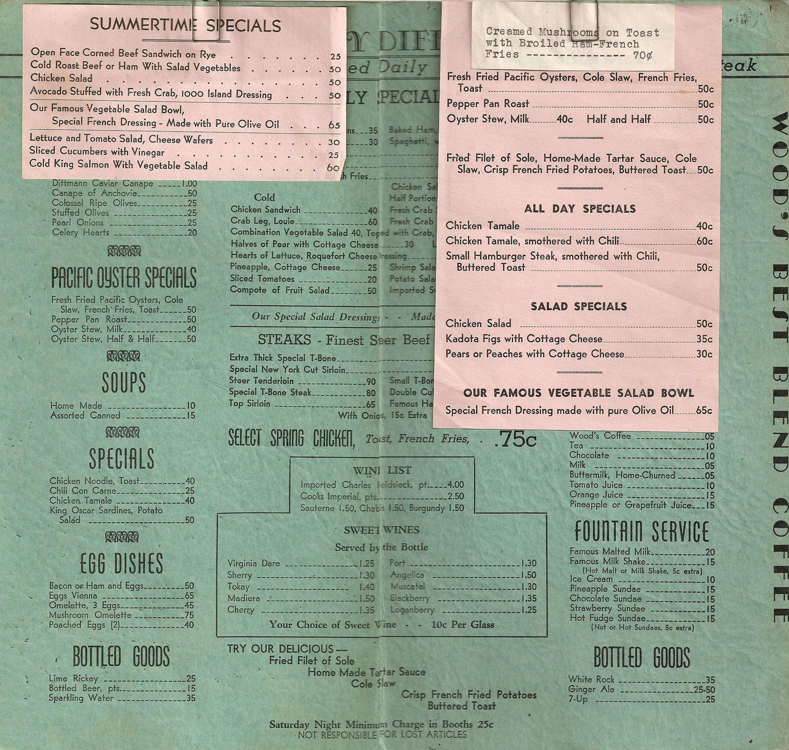 Vintage Restaurant Menu 20